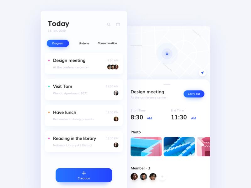 Schedule blue mapa project interface design date color clean schedule card ui 100day ui 100 ui  ux ui app