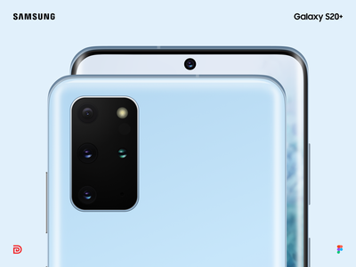 Galaxy S20+ Cloud Blue mock-up smartphone device mockup product design app freebie blue camera figma vector mockup samsung galaxy