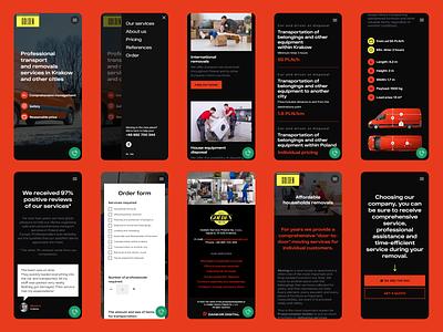 Mobile screens typogaphy product design tilda website design icons removals household sprinter golden mobile transport moving company ux ui figma web design ui design