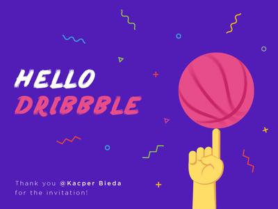 Hello Dribbble illustrator vector basket ball hello dribbble first shot thanks invites illustration debut