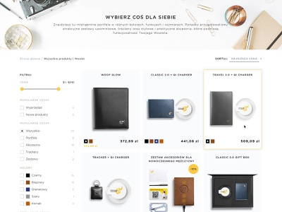 All products page woolet smart wallet web design products list ux design ui design ux  ui