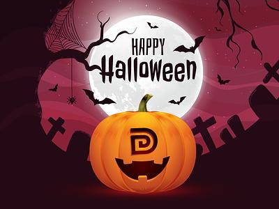 Happy Halloween illustration dankor digital for fun night moon mascot happy face pumpkin halloween