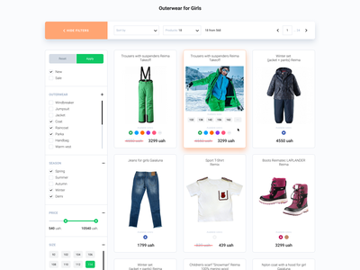 Product category page design for kids clothing shop 🛒 colors sorting pagination kids clothing kyiv ukraine ecommerce store shop filters product card ux ui ux design products page ui ui design