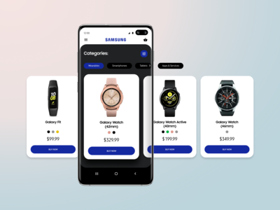 Samsung shop app design