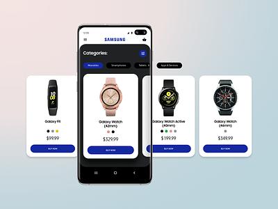 Samsung shop app design concept slider shop wearable smart watch ecommerce application s10 galaxy samsung mobile app mobile app ux ui ui design