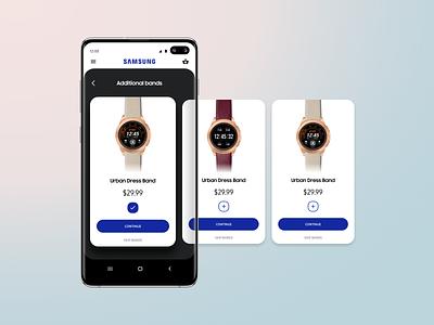 Samsung shop app design - Choose Bands concept app mobile buy bands smart watch shop s10 galaxy samsung ecommerce ui ux ui design