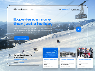 Rocksresort Redesign Concept figma experience holiday concept redesign switzerland laax ui web design landing page winter snowboard ski hotel resort rocksresort