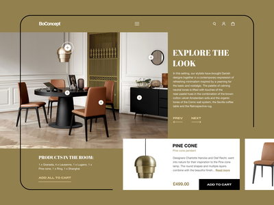 Products in the room add to cart look explore products figma store furniture store furniture room concept web design ui design ecommerce
