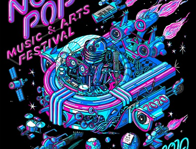 Noise Pop Festival 2020 festival gig poster poster music spaceship san francisco space machine line wacom digital drawing illustration isometric
