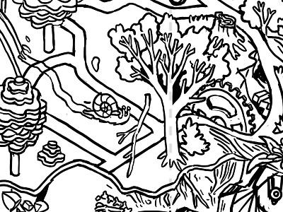 Coloring Trails Packaging Project - Crop 1 bicycle bike ride bikes bike ink art line digital isometric illustration drawing