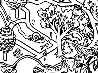 Coloring Trails Packaging Project - Crop 1 bicycle bike ride bikes bike ink art line digital isometric illustration drawing
