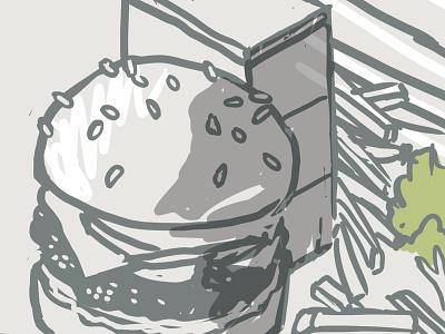 Burger crop mural line building digital illustration isometric