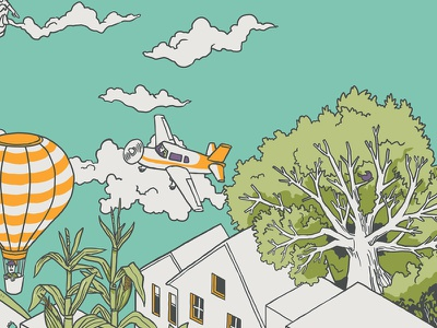 Flying around - Mural crop architecture mural wacom isometric color digital illustration drawing