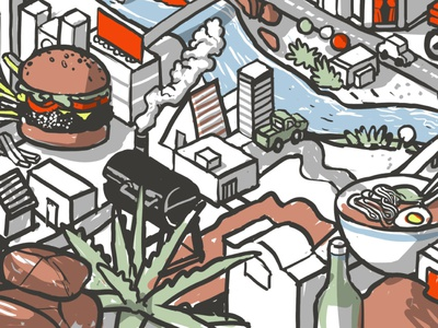 Foods scene mural - crop 1 Smoker architecture machine line building design mural drawing isometric digital illustration