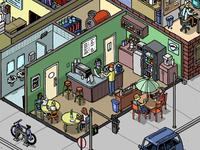 isometric street - cafe