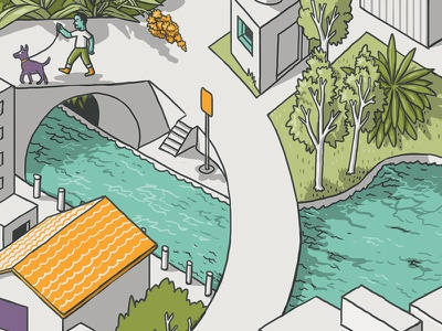 Bridge and Tunnel people architecture mural building wacom digital color isometric drawing illustration