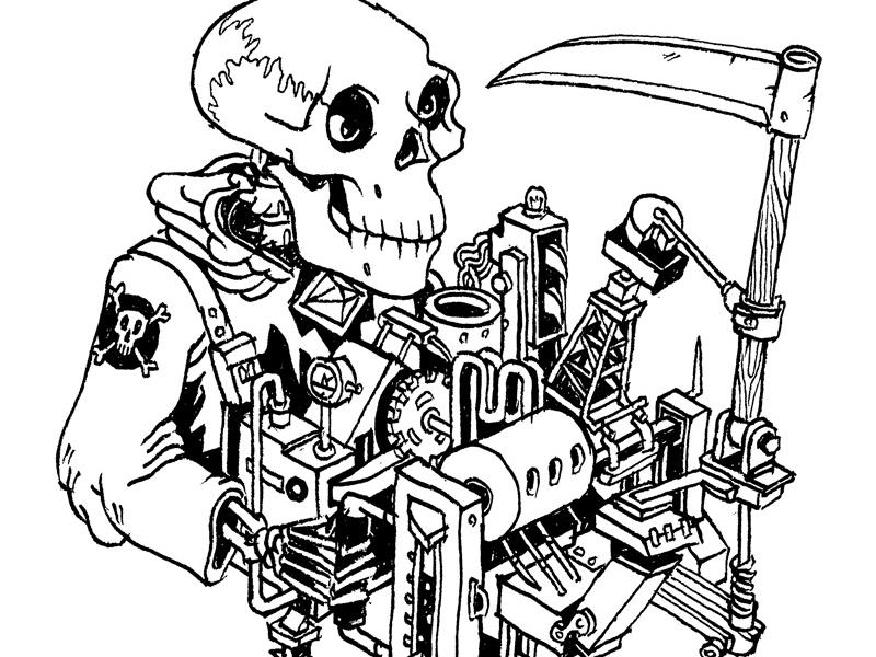 Modern Machine Grim Reaper isometric drawing ink line pen skull scythe machine contraption black and white skeleton death