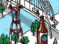 Landmarks and food mural sketch - crop 1