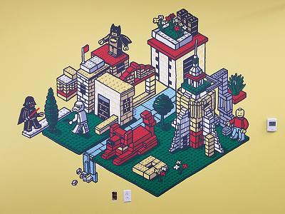 Redtail Lego Mural sacramento redtail minifig dog starwars batman lego painting mural illustration drawing isometric