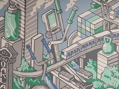 Leamington Gym Mural transport fitness isometric illustration illustration painting mural train architecture isometric