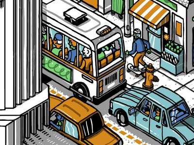 Street scene - crop 1 bus urban street architecture people line building wacom color digital drawing illustration isometric