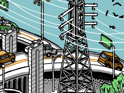Powerlines pattern electric losangeles overpass car urban hand-drawn digital drawing illustration isometric