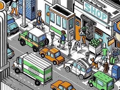 Los Feliz Barriers - street 2 los angeles building color digital drawing illustration isometric