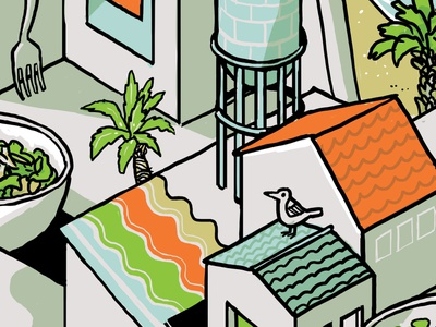 Isometric illustration crop - roof mural line digital wacom color palette illustration drawing isometric urban architecture building roof colorful