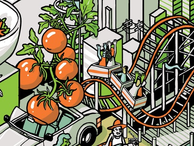 Salad fun-times mural design : crop 2 mural line art ink building digital color illustration isometric drawing