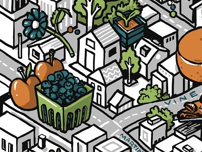 Berkeley map illustration - crop1 wacom architecture line mural drawing isometric building color digital illustration