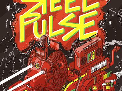 Steel Pulse Poster music art poster california berkeley concert reggae music gig poster machine line wacom drawing digital color illustration isometric