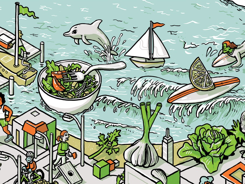 Salad @ the Beach people architecture line mural wacom building digital drawing isometric illustration