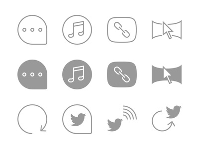 Navigation icons follow share comment duration inspiration link music blog outline flat glyph icon