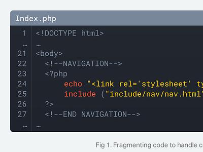 Code Block mono php html code article flat