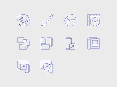 Portfolio Website Icons print marketing data content icon animation website web design portfolio minimal icons