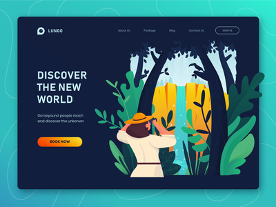 Discover The New World Website Header woman design landing page header web lady female character uiux website illustration bird leaves waterfall woods explore discover hiking