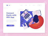 Miit App - Online Meeting/Learning Header Illustration meeting collaboration video call desk study work work from home social distancing noansa design ui character landing page header web website uiux illustration