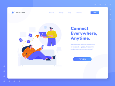 TELECOMM - Communication Illustration Concept message app app internetofthings interface communication provider connection 5g internet landing page vector noansa header web character uiux website illustration