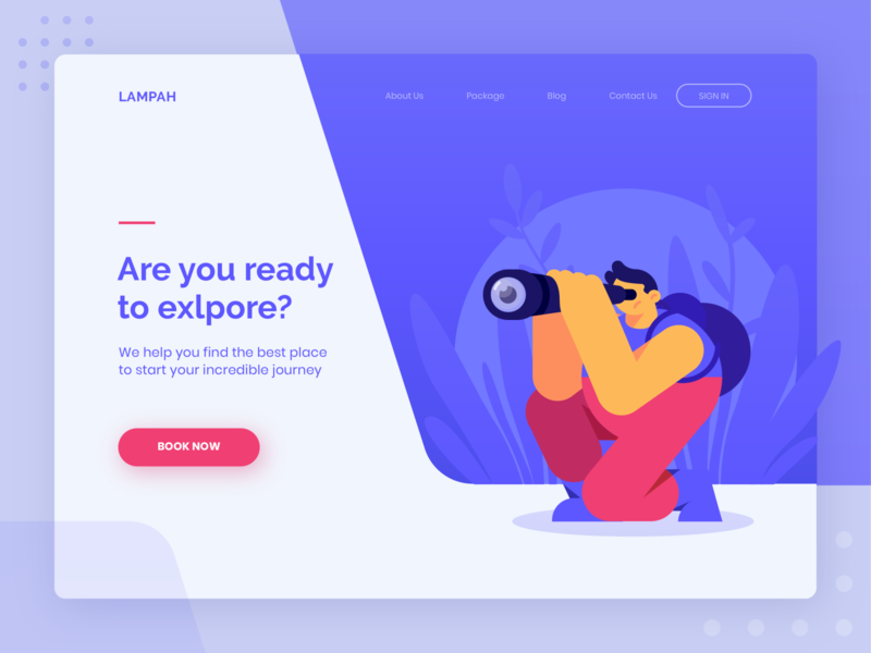 LAMPAH - Header Exploration empty state 404 app woods explorer explore looking searching landing page purple uiux ui header character website illustration