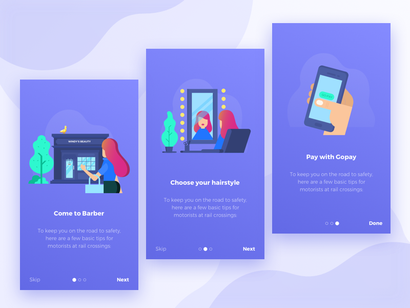Title : Barberose -  Hairdressers apps trends salon purple modern page landing landingpage ios beauty apps android illustration