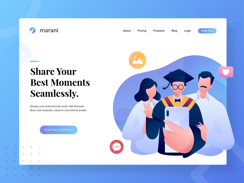 Social Network Manager Hero Header selfie family study graduation exploration header character blue and white ui uiux website vector illustration webdesign social media social network