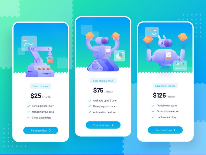 Artificial Intelligence Software Pricing Exploration tech apps software automation artificial intelligence robotic blue purple pricing noansa vector ui illustration website uiux