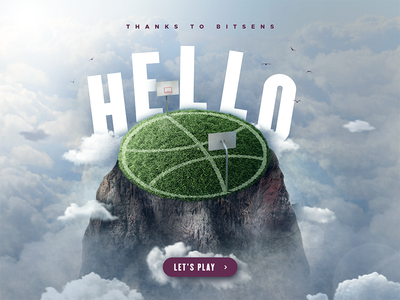 Hello Dribbble high mountain birds sky stadium game play thanks hello post first debut