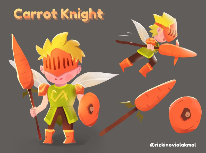 Carrot Knight Character Design flat character illustrator design children illustration children book illustration illustration