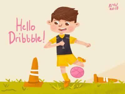 Hello Dribbble ! soccer children illustration children book illustration illustration