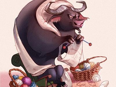 Muuuuuu buffalo bull animal cartoon illustration raster character design character