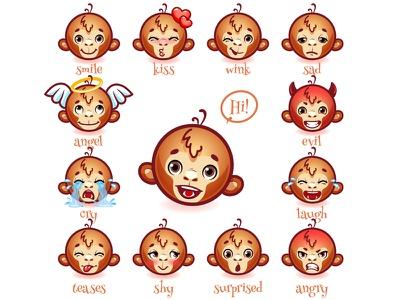 Set of emoticons funny monkey. character emoticons smile monkey ape icons vector