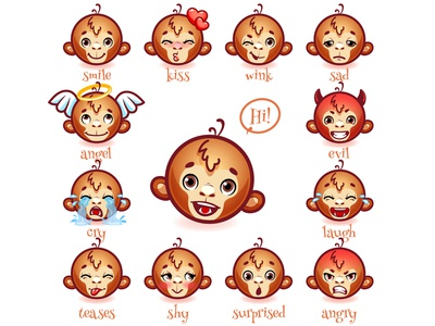 Set of emoticons funny monkey.
