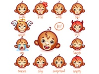 Set of emoticons funny monkey.