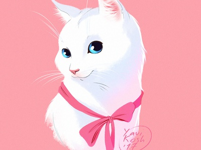 White cat illustration cartoon cat character design character